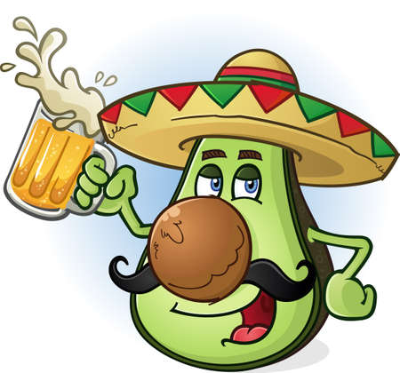 mexican cartoon: Avocado Mexican Cartoon Character Drinking Beer