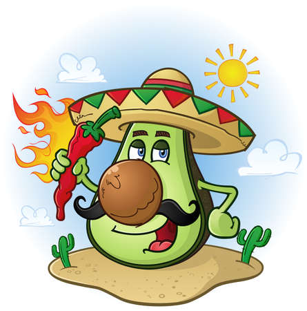 fire pit: Avocado Mexican Cartoon Character a Holding Hot Chili Pepper