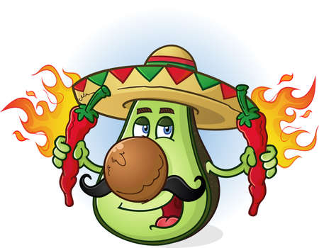 Avocado Mexican Cartoon Character Holding Hot Chili Peppers Illustration