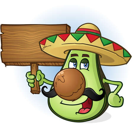 Avocado Mexican Cartoon Character a Holding Wooden Sign Vector