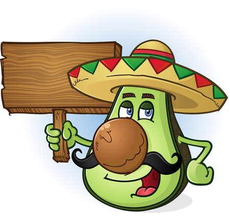 avocados: Avocado Mexican Cartoon Character a Holding Wooden Sign