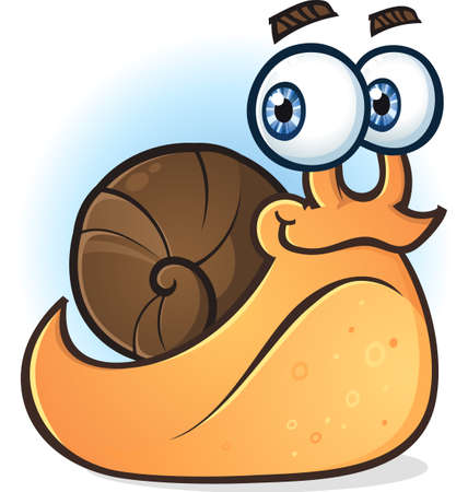slither: Snail Smiling Cartoon Character Illustration