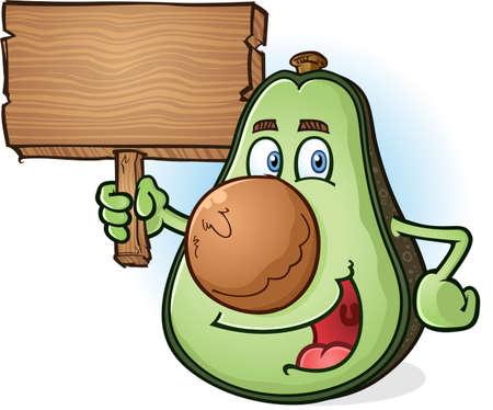 Avocado Cartoon Character Holding Wooden Sign