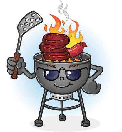 Barbecue Grill stripfiguur met Houding