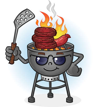 Barbecue Grill Cartoon Character with Attitude