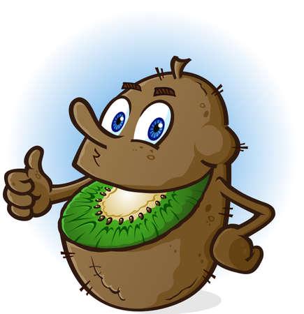 Kiwi Fruit stripfiguur Stock Illustratie
