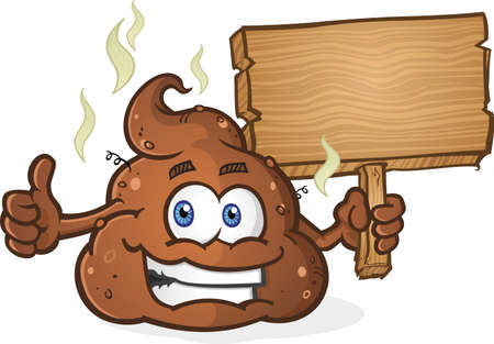 crap: Poop Pile Cartoon Character Thumbs Up and Holding Sign Illustration