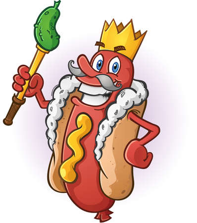 Hot Dog King Cartoon Character Wearing a Golden Crown Illustration