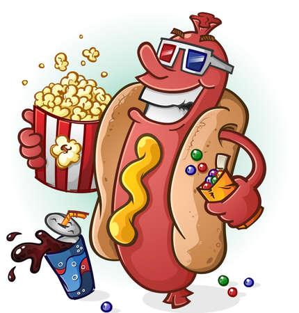 Hot Dog Cartoon At the Movies Vectores