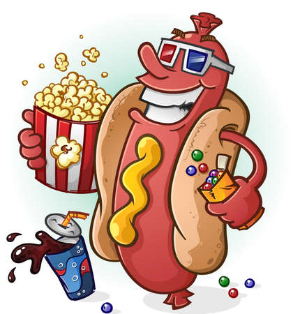 Hot Dog Cartoon At the Movies 向量圖像