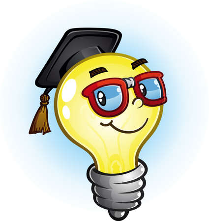 Light Bulb Education Cartoon Character Иллюстрация