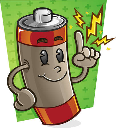 Battery Cartoon Character Vector