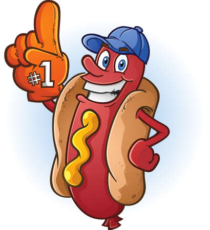 Hot Dog Sports Fan Cartoon Character 向量圖像