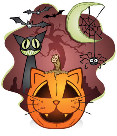 unlucky: Cat Jack O Lantern Cartoon Character with Spider and Unlucky Black Cat Illustration