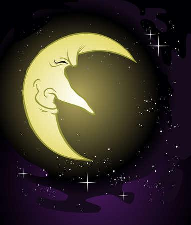 luna caricatura: Viejo sabio Luna de dibujos animados Vectores