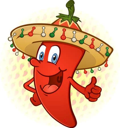 caricatura mexicana: Sombrero Hot Chili Pepper Thumbs Up personaje de dibujos animados Vectores