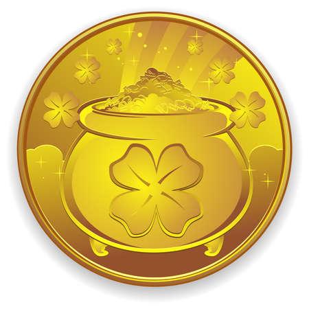 lucky charm: Lucky Gold Coin Charm Cartoon Illustration