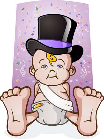 lounging: Cute New Years Eve Baby Cartoon Character in a Top Hat