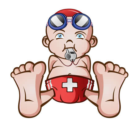 cpr: Lifeguard Baby Cartoon Character Illustration