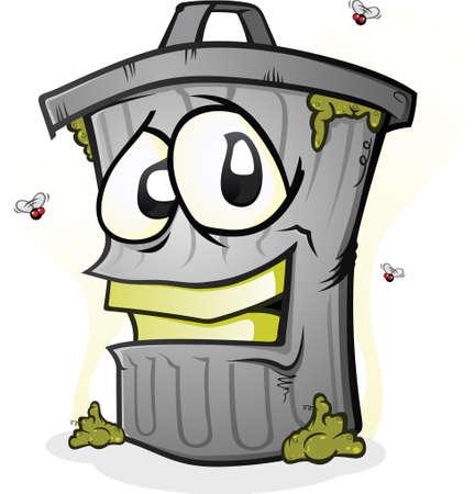 Smiling Dirty Trash Can Cartoon Character Vector