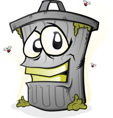 trash can: Smiling Dirty Trash Can Cartoon Character Illustration