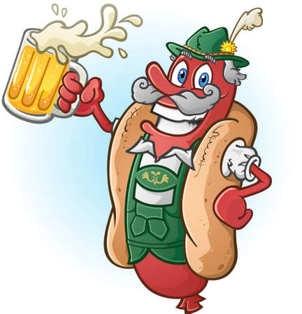 cartoon food: Oktoberfest Bratwurst Hotdog Cartoon Character Drinking Beer