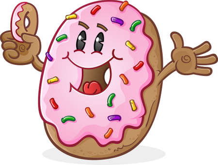 excited cartoon: Frosted Donut Cartoon Character with Sprinkles Illustration