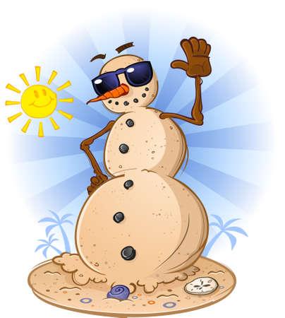 ビーチの砂の雪だるまの漫画のキャラクター  イラスト・ベクター素材