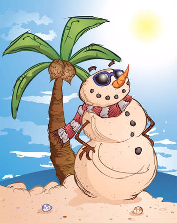 christmas in july: Sand Snowman Cartoon Character in Paradise