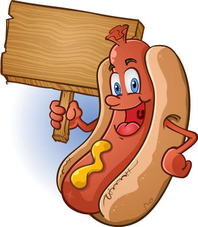 mensch cartoon: Hot Dog Cartoon Charakter ein Zeichen anh�lt
