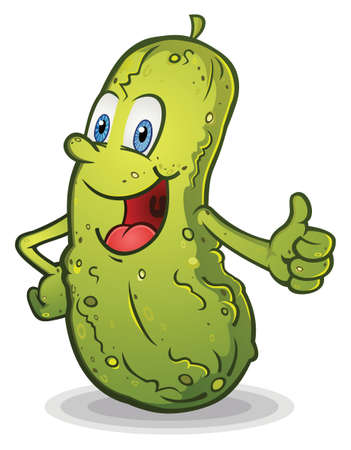 Smiling Thumbs Up Pickle Cartoon Character