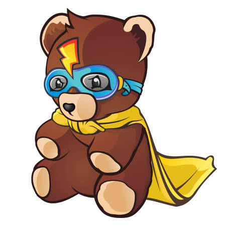 teddy bear cartoon: Super Hero Teddy Bear Cartoon Character Illustration