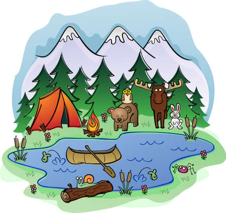 summer sky: Camping In Summer with Animal Friends