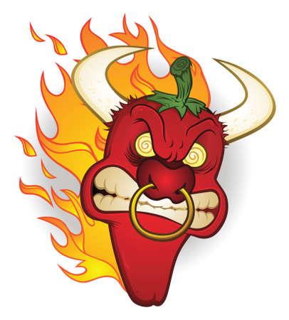 Raging Bull Chili Pepper stripfiguur