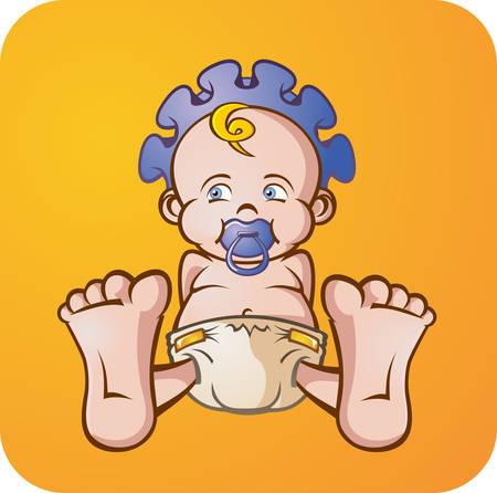 blonde curly hair: Baby Boy Cartoon Character