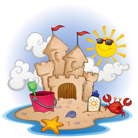 ビーチの漫画イラストを砂の城  イラスト・ベクター素材