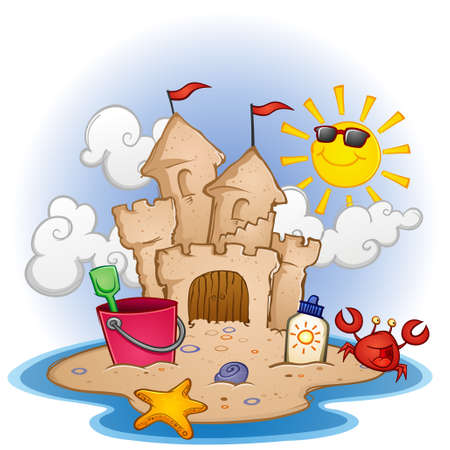 pebble beach: Sandcastle on the Beach Cartoon Illustration