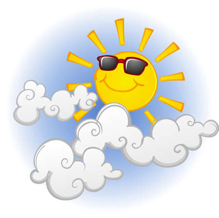 Cool Sun Cartoon Character in the Clouds