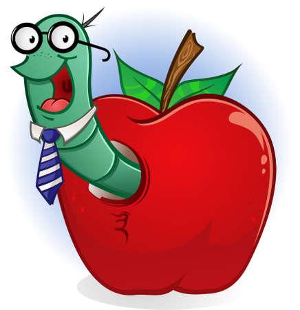 gusano caricatura: Car�cter Bookworm de dibujos animados en un Apple Vectores