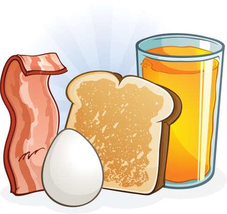 Complete Balanced Breakfast Cartoon Illustration