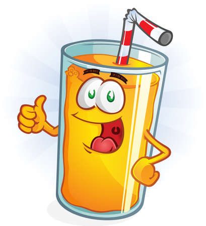 Orange Juice Cartoon Character Thumbs Up Ilustração