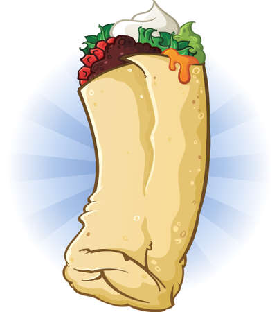 ground beef: Burrito Cartoon Illustration Illustration