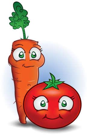 zanahoria caricatura: Zanahoria y tomate personajes de dibujos animados de verduras