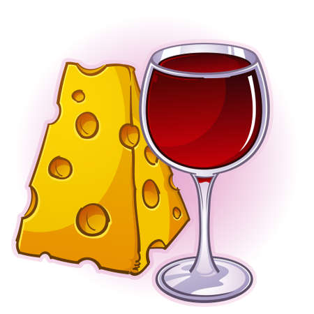 Wine and Cheese Cartoon Illustration