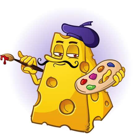 cheese cartoon: Artist Cheese Cartoon Character