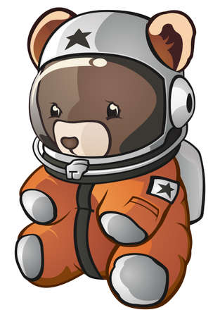 Teddy Bear Space Astronaut Cartoon Character Illustration
