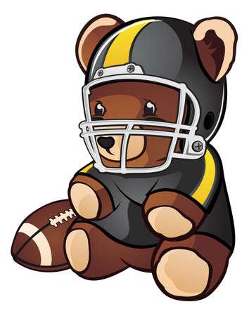 Football Teddy Bear Cartoon Character