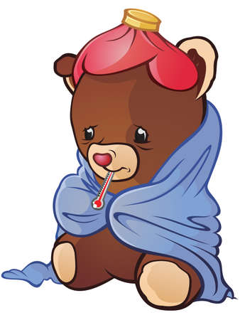 hot water bottle: Sick Teddy Bear Cartoon Character