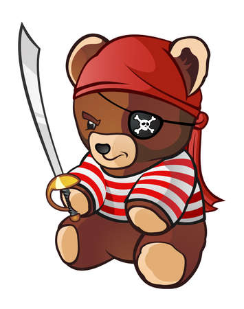 teddy bear cartoon: Pirate Teddy Bear Cartoon Character