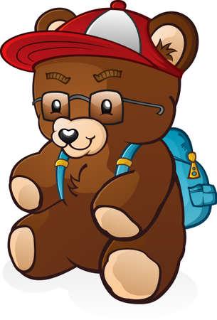 bookbag: Back To School Student Teddy Bear Cartoon Character Illustration